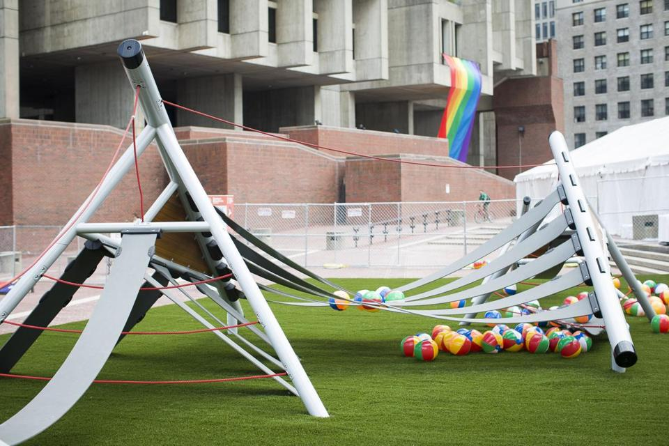 A playscape built in City Hall Plaza will be moved to an area in Roslindale that currently lacks a playground.